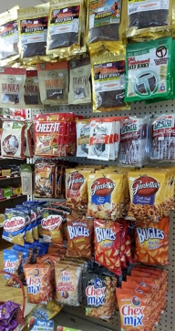 Got snacks? Gourmet jerky and all your favorite munchies.